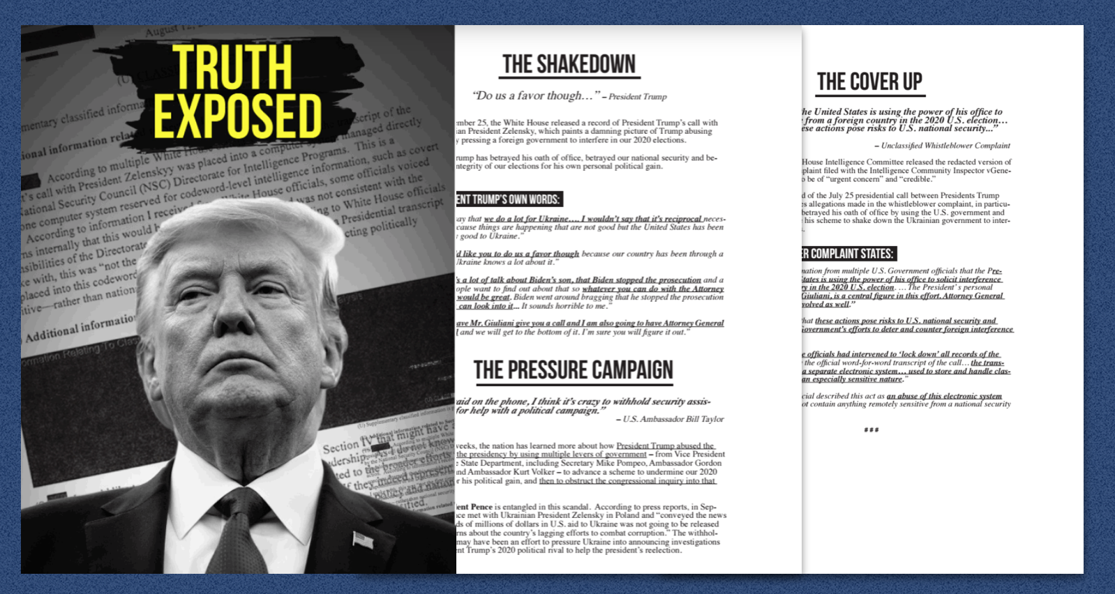 """Pelosi Releases """"Truth Exposed"""" Fact Sheet Detailing Dem Charges of Trump Wrongdoing on Ukraine"""